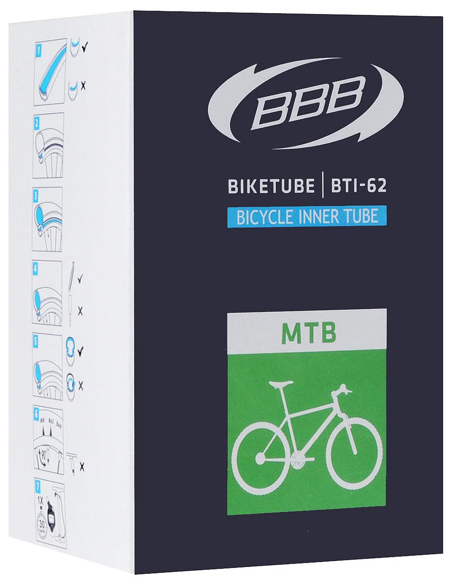 Камера велосипедная BBB, 26, 1,5-1,75 AVBTI-62Камера BBB изготовлена из долговечного резинового компаунда. Никаких швов, которые могут пропускать воздух. Достаточно большая для защиты от проколов и достаточно небольшая для снижения веса. Велосипедные камеры - обязательный атрибут каждого велосипедиста! Никогда не выезжайте из дома на велосипеде, не взяв с собой запасную велосипедную шину!Диаметр колеса: 26.Допустимый размер сечения покрышки: 1,5-1,75.Автомобильный ниппель (Shrader): 33 мм.Толщина стенки: 0,87 мм.