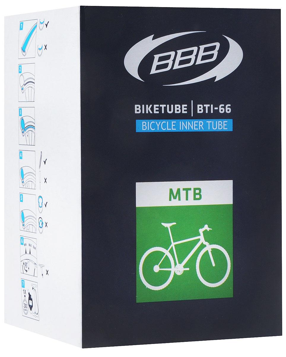 Камера велосипедная BBB, 27,5, 2,1-2,35 AVBTI-68Камера BBB изготовлена из долговечного резинового компаунда. Никаких швов, которые могут пропускать воздух. Достаточно большая для защиты от проколов и достаточно небольшая для снижения веса. Велосипедные камеры - обязательный атрибут каждого велосипедиста! Никогда не выезжайте из дома на велосипеде, не взяв с собой запасную велосипедную шину!Диаметр колеса: 27,5.Допустимый размер сечения покрышки: 2,1-2,35.Ниппель (Presta): 33 мм.Толщина стенки: 0,87 мм.