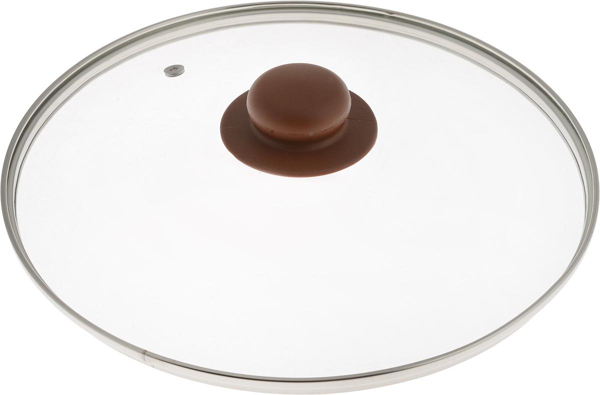 Крышка NaturePan, с металлическим ободом, цвет: коричневый, прозрачный. Диаметр 26 смЛ4894Крышка NaturePan, изготовленная из жаропрочного стекла, оснащена металлическим ободом, пластиковой ручкой и отверстием для выпуска пара. Окантовка предохраняет от механических повреждений. Изделие удобно в использовании и позволяет контролировать процесс приготовления пищи.Можно мыть в посудомоечной машине.Диаметр крышки: 26 см.Диаметр ручки: 4,5 см.Высота ручки: 2,5 см.