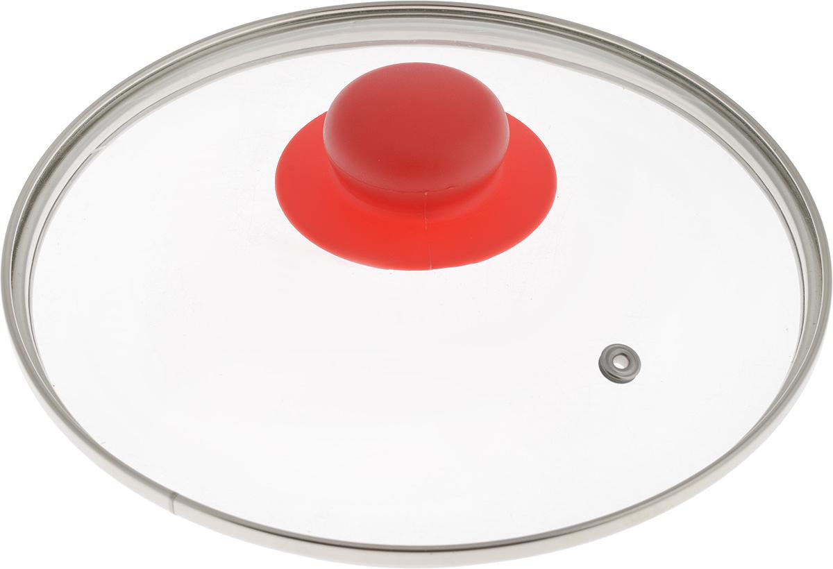 Крышка NaturePan, с металлическим ободом, цвет: красный, прозрачный. Диаметр 20 смЛ4886Крышка NaturePan, изготовленная из жаропрочного стекла, оснащена металлическим ободом, пластиковой ручкой и отверстием для выпуска пара. Окантовка предохраняет от механических повреждений. Изделие удобно в использовании и позволяет контролировать процесс приготовления пищи.Можно мыть в посудомоечной машине.Диаметр крышки: 20 см.Диаметр ручки: 4,5 см.Высота ручки: 2,5 см.