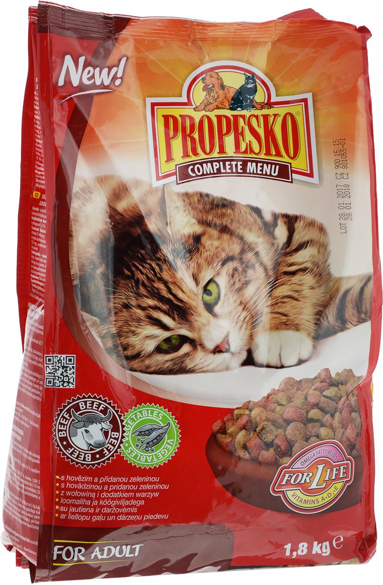 Корм сухой для кошек Propesko, с говядиной и овощами, 1,8 кг14516Сухой корм для кошек Propesko с мясом говядины и овощами - полнорационное питание для кошек всех пород. Содержание белка обеспечивает достаточный запас энергии в течение дня, витамин А - хорошее зрение и витамин D3 помогает держать кости и зубы крепкими.Корм Propesko содержит три типа сухих гранул, которые сделаны из куриного мяса, обогащены овощами, а также другими полезными добавками для того, чтобы обеспечить кошке хорошее здоровье, пушистый мех, крепкие зубы и кости, острое зрение, максимальную усвояемость. Оптимальный состав, высококачественное сырье и хорошо усваиваемые компоненты обеспечивают кошку животным и растительным белком, животным жиром и растительными маслами. Корм обогащается минералами, микроэлементами и витаминами А, D3, E. Это гарантирует вашей кошке хорошее здоровье и отличную физическую форму.Товар сертифицирован.
