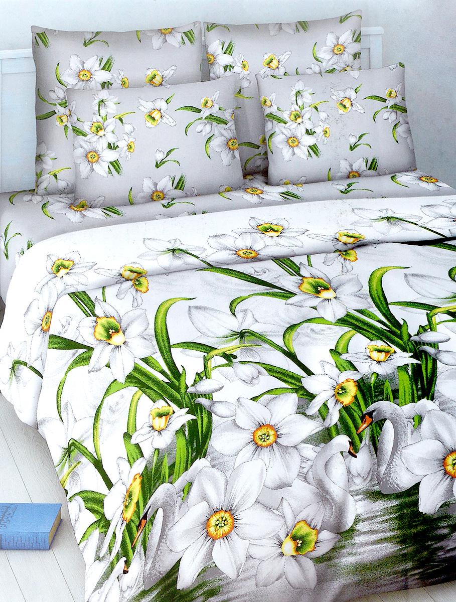 Комплект белья МарТекс, евро, наволочки 70х70, цвет: белый, серый01-1025-3Комплект постельного белья МарТекс состоит из пододеяльника, простыни и двух наволочек. Постельное белье оформлено оригинальным ярким рисунком и имеет изысканный внешний вид.Комплект изготовлен из качественной хлопчатобумажной бязи. Поверхность материи - ровная и матовая на вид, одинаковая с обеих сторон. Ткань экологична, гипоаллергенна, износостойка. Это отличный материал для постельного белья.