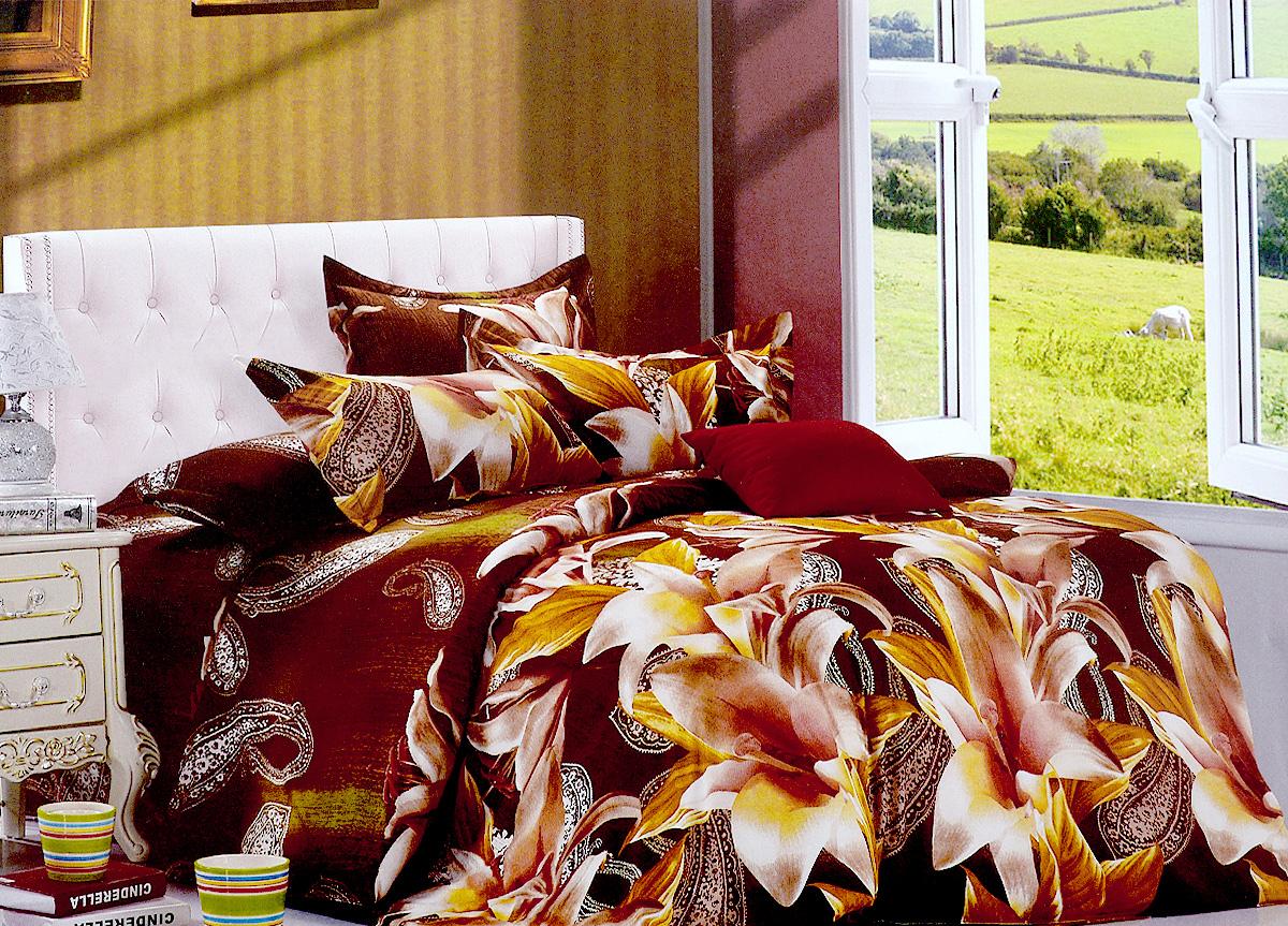Комплект белья МарТекс Лили, евро, наволочки 50х70, 70х70, цвет: коричневый, темно-зеленый01-0660-3Комплект постельного белья МарТекс Лили состоит из пододеяльника на молнии, простыни и четырех наволочек. Постельное белье оформлено оригинальным ярким рисунком и имеет изысканный внешний вид. Комплект изготовлен из качественной микрофибры. Микроволокно обладает высокой устойчивостью, у него богатая палитра ярких оттенков, эта ткань полностью поддается стирке.Такая ткань рассчитана на 200 стирок и более. Микрофибра представляет собой ткань из полиэфирного волокна. В ее состав входят микронити, которые и обеспечивают материалу максимальную прочность, а также дышащую способность.Приобретая комплект постельного белья МарТекс, вы можете быть уверенны в том, что покупка доставит вам и вашим близким удовольствие и подарит максимальный комфорт.