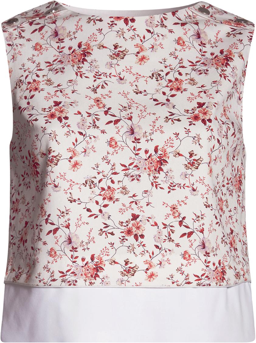 Топ женский oodji, цвет: белый, ярко-розовый. 13700008/18854/124DF. Размер 42-170 (48-170)