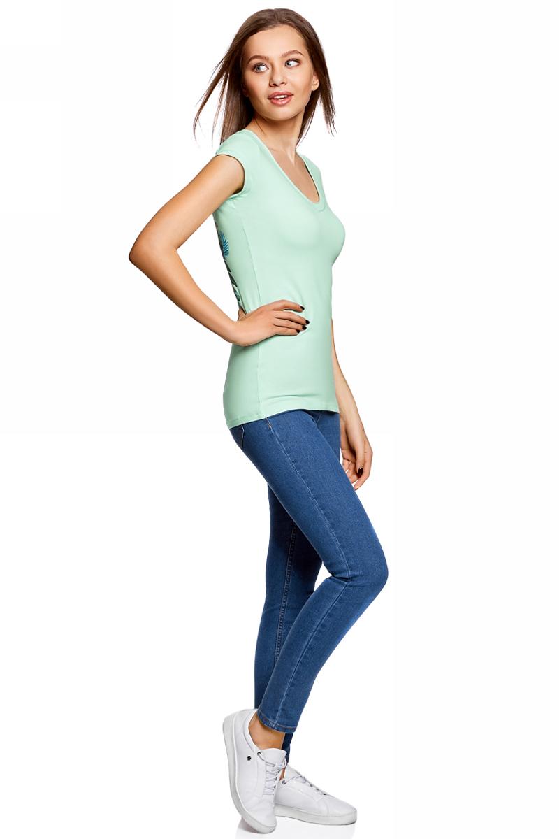Футболка женская oodji, цвет: ментоловый. 14711002-3/46157/6519P. Размер L (48) пуловеры oodji пуловер