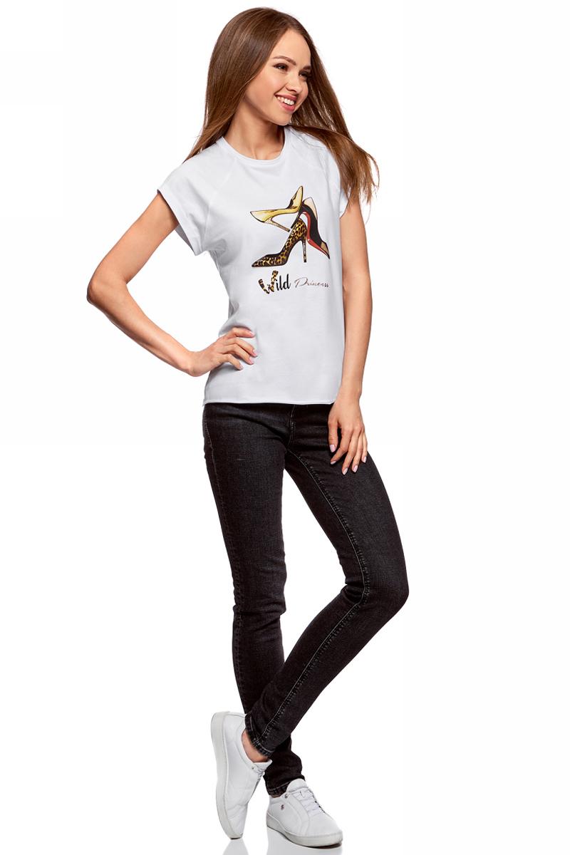 Футболка женская oodji Ultra, цвет: белый. 14707001-30/46154/1019P. Размер M (46)14707001-30/46154/1019PЖенская футболка от oodji выполнена из натурального хлопка. Модель с короткими рукавами спереди оформлена принтом.