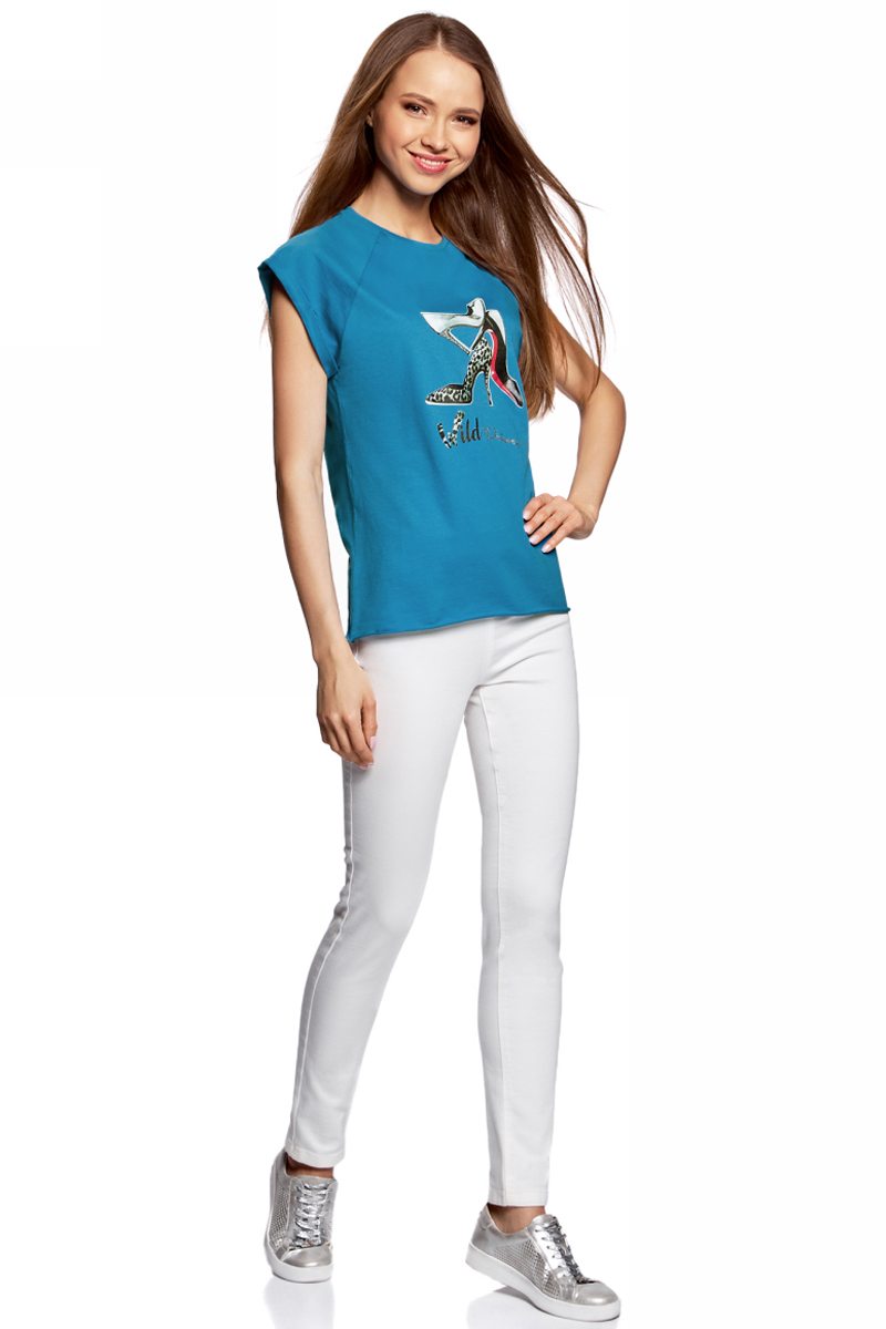 Футболка женская oodji Ultra, цвет: синий. 14707001-30/46154/7519P. Размер S (44)14707001-30/46154/7519PЖенская футболка от oodji выполнена из натурального хлопка. Модель с короткими рукавами спереди оформлена принтом.