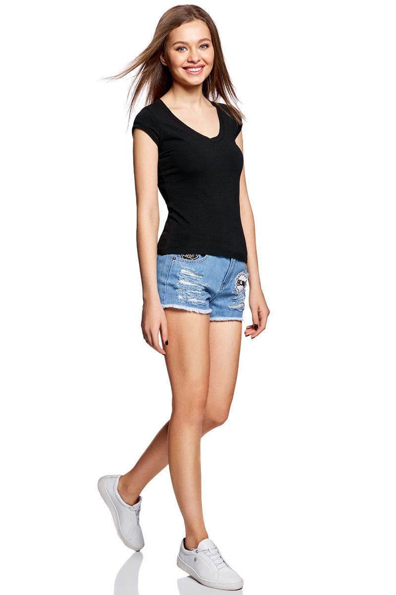 Футболка женская oodji Ultra, цвет: черный. 14711002B/46157/2900N. Размер L (48) футболка oodji футболка