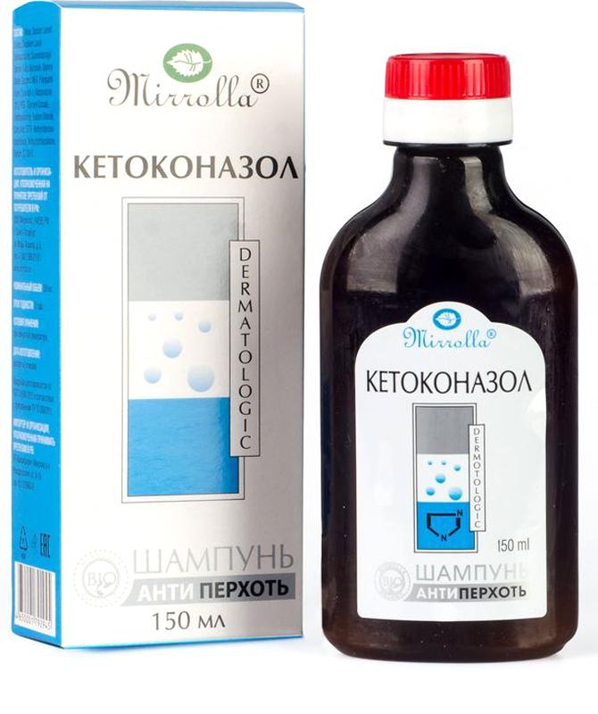 Мирролла Шампунь от перхоти Mirrolla® с кетоконазолом 2% 150 мл4650001792945Шампунь с кетоконазолом устраняет не только причину перхоти, но и позволяет очень быстро справиться с сопутствующими симптомами. Он разработан на мягкой моющей основе, не оказывающей раздражающего действия на кожу даже при ежедневном применении. Активные компоненты шампуня на длительное время сохраняются в верхних слоях кожи, надолго защищая от повторного появления перхоти.- Устраняет перхоть и признаки себорейного дерматита; - Снимает неприятный зуд; - Нормализует микрофлору и устраняет шелушение кожи головы; - Обладает противогрибковым, фунгистатическим и фунгицидным действием. Что делать при выпадении волос – статья на OZON Гид.