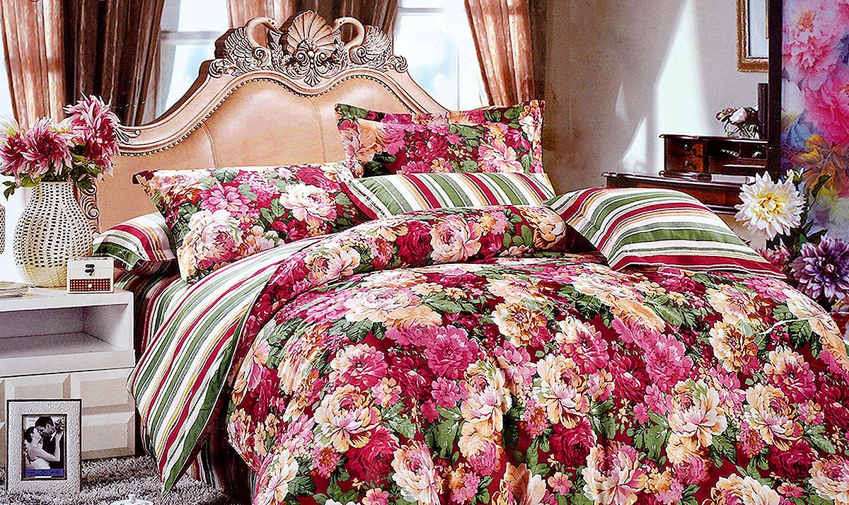 Комплект белья МарТекс Вивальди, 1,5-спальный, наволочки 70х70, цвет: красный, белый, зеленый01-0151-1Комплект постельного белья МарТекс Вивальди состоит из пододеяльника, простыни и двух наволочек и изготовлен из качественного сатина. Постельное белье оформлено оригинальным ярким рисунком и имеет изысканный внешний вид. Сатин - вид ткани, произведенный из натурального хлопка. Материал имеет все свойства хлопка: не аллергенен, прочен, почти не мнется и хорошо гладится. Благодаря натуральному хлопку, постельное белье приобретает способность пропускать воздух, давая возможность телу дышать. Приобретая комплект постельного белья МарТекс, вы можете быть уверенны в том, что покупка доставит вам и вашим близким удовольствие и подарит максимальный комфорт.