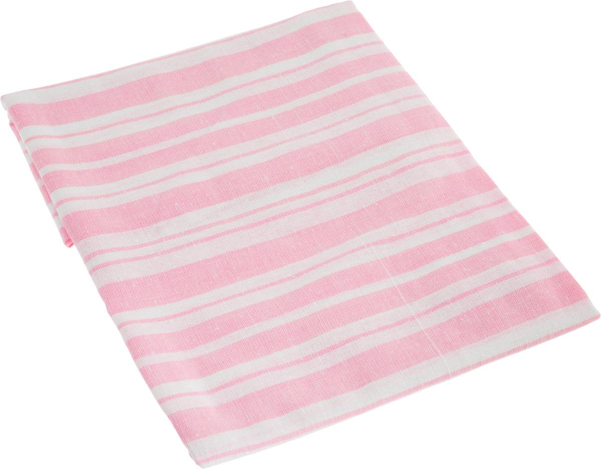 """Наволочка """"Гаврилов-Ямский Лен"""", цвет: розовый, белый, 60 x 60 см"""