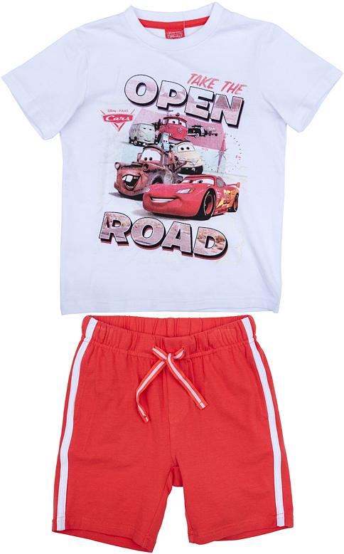 Комплект для мальчика PlayToday: футболка, шорты, цвет: белый, красный. 971003. Размер 116971003Комплект из футболки и шорт прекрасно подойдет как для домашнего использования, так и для прогулок на свежем воздухе. Мягкий, приятный к телу, материал не сковывает движений. Яркий стильный принт является достойным украшением данного изделия. Шорты на мягкой удобной резинке.