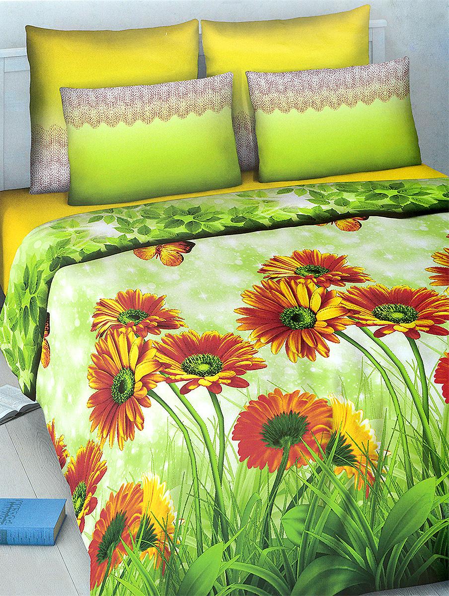 Комплект белья МарТекс, евро, наволочки 70х70, цвет: зеленый, салатовый, оранжевый01-1030-3Комплект постельного белья МарТекс состоит из пододеяльника, простыни и двух наволочек. Постельное белье оформлено оригинальным ярким рисунком и имеет изысканный внешний вид.Комплект изготовлен из качественной хлопчатобумажной бязи. Поверхность материи - ровная и матовая на вид, одинаковая с обеих сторон. Ткань экологична, гипоаллергенная, износостойкая. Это отличный материал для постельного белья.Приобретая комплект постельного белья МарТекс, вы можете быть уверенны в том, что покупка доставит вам и вашим близким удовольствие и подарит максимальный комфорт.