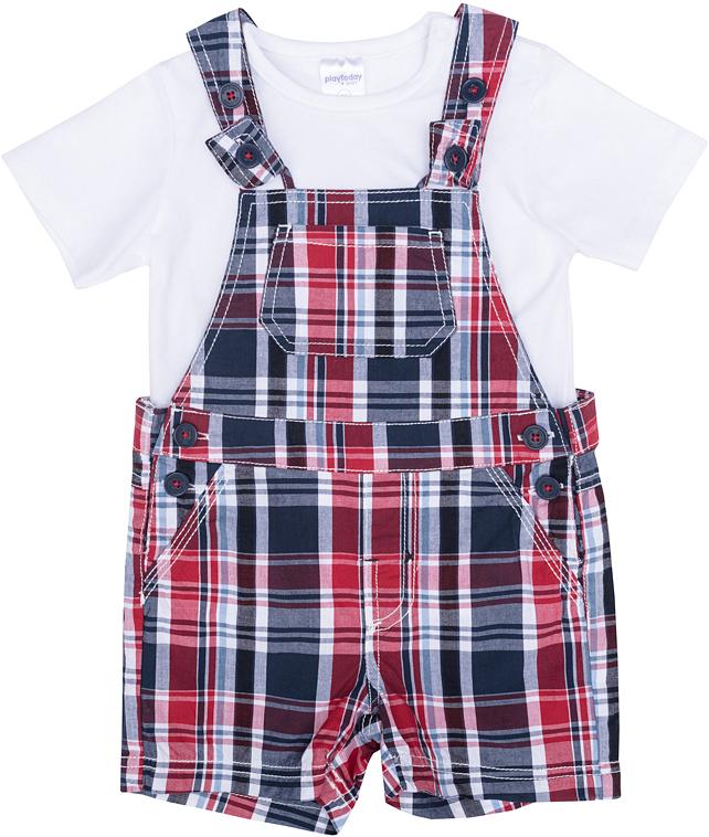Комплект для мальчика PlayToday: футболка, полукомбинезон, цвет: белый, синий, красный. 277005. Размер 86277005Комплект из футболки и полукомбинезона прекрасно подойдет как для домашнего использования, так и для прогулок на свежем воздухе. Мягкий, приятный к телу, материал не сковывает движений. Яркий стильный принт является достойным украшением данного изделия.