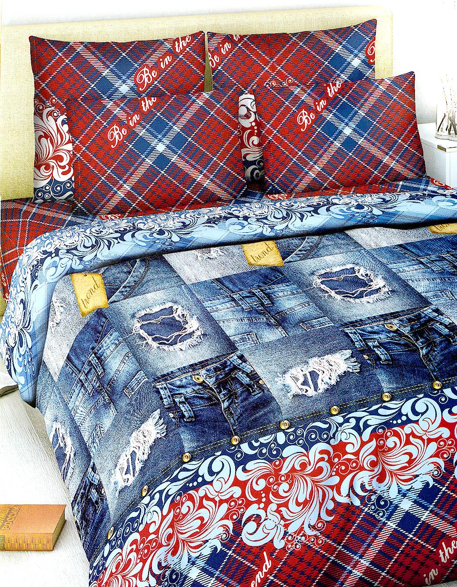 Комплект белья МарТекс, 2-спальный, наволочки 70х70, цвет: синий джинс, красный01-1018-2Комплект постельного белья МарТекс состоит из пододеяльника, простыни и двух наволочек. Постельное белье оформлено оригинальным ярким рисунком и имеет изысканный внешний вид.Комплект изготовлен из качественной хлопчатобумажной бязи. Поверхность материи - ровная и матовая на вид, одинаковая с обеих сторон. Ткань экологична, гипоаллергенна, износостойка. Это отличный материал для постельного белья.