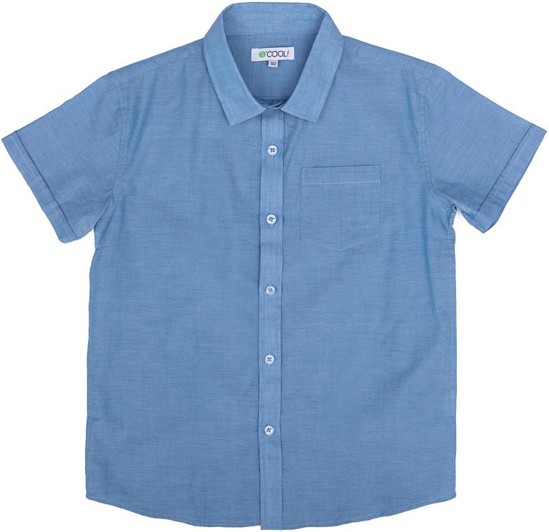 Рубашка для мальчика Scool, цвет: голубой. 273002. Размер 152, 12 лет273002Джинсовая рубашка для мальчика Scool изготовлена из натурального хлопка. Модель с отложным воротником и короткими рукавами застегивается на пуговицы. На груди расположен накладной карман.
