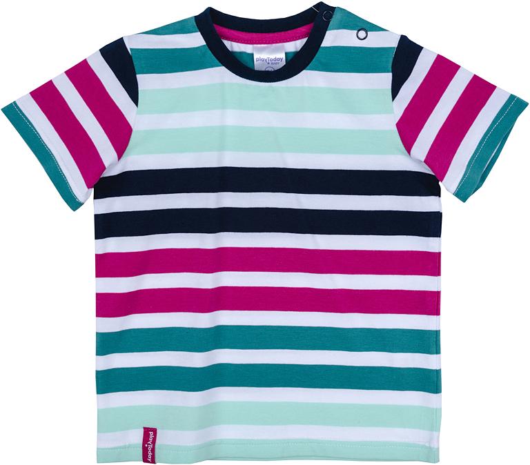 Футболка для мальчика PlayToday, цвет: белый, зеленый, бордовый. 277015. Размер 80277015Футболка PlayToday с круглым вырезом горловины и короткими рукавами оформлена ярким принтом.