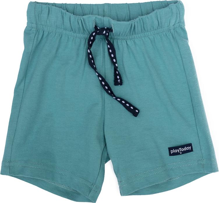 Шорты для мальчика PlayToday, цвет: зеленый, черный. 277019. Размер 92277019Шорты для мальчика PlayToday выполнены из качественного материала. Модель дополнена затягивающимся шнурком.