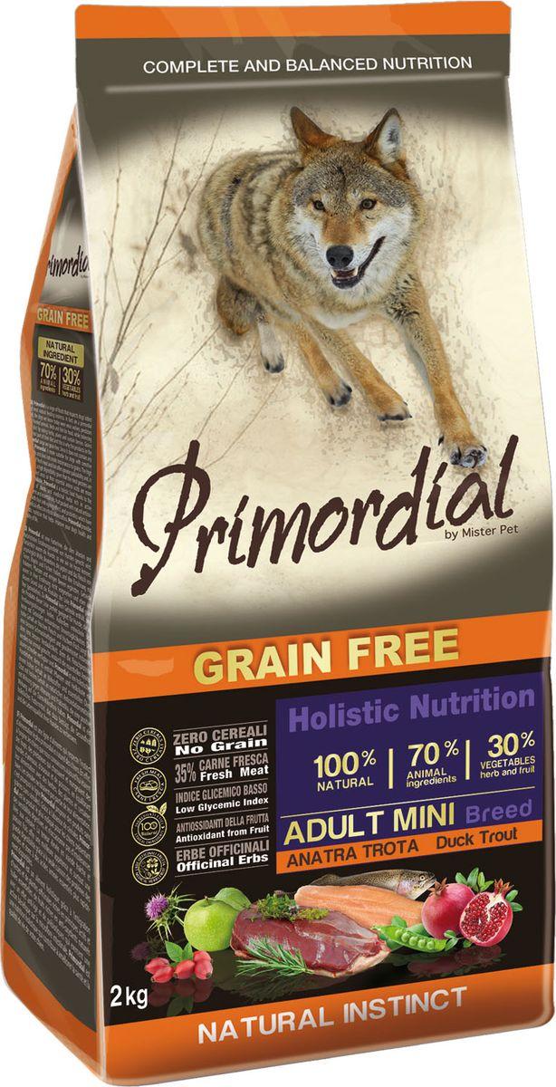 """Корм сухой """"Primordial"""" для собак мелких пород, беззерновой, форель утка, 2кг"""