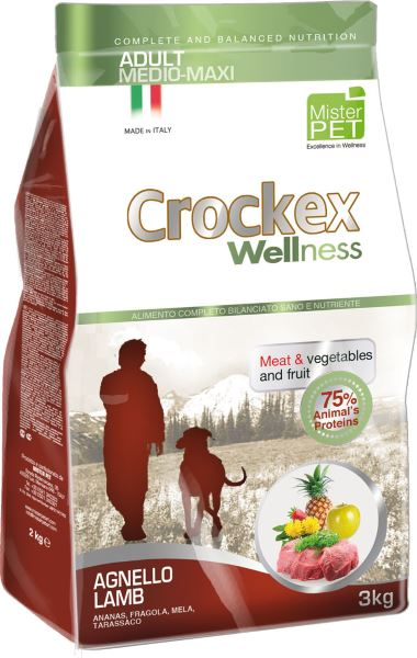Корм сухой Crockex Wellness для собак средних и крупных пород, с ягненком и рисом, 3 кг65203Этот полноценный рацион, дополненный функциональными ингредиентами, поддержит здоровье собаки. Сердцевина ананаса и яблоко способствуют правильному функционированию пищеварительной системы, а клубника является натуральным антиоксидантом с антивозрастным эффектом и служит для борьбы со свободными радикалами. Одуванчик известен своими очищающими свойствами и оказывает благотворное воздействие на печень. Пребиотики FOS и MOS помогают модулировать кишечную флору, улучшая таким образом усвоение питательных веществ. Использование риса в качестве первого источника углеводов и свежего мяса ягненка (15%) обеспечивает высокую перевариваемость и отличную аппетитность рациона.Состав: обезвоженное мясо цыпленка (18%), рис (18%), кукуруза, свежее мясо ягненка (15%), обезвоженное мясо ягненка (12 %), кукурузная мука, цыплячий жир, очищенный от оболочки зеленый горошек, льняное семя (2%), высушенная мякоть свеклы, пивные дрожжи, обезвоженные морские водоросли (0,24%), хлорид натрия, экстракт дрожжей (MOS 0,16%), фруктоолигосахариды (FOS 0,1%), экстракт юкки (0,0265%), порошок из корней одуванчика (Taraxacum officinale W.) (0,02%), обезвоженное яблоко (Malus pumila) (0,02%), обезвоженная сердцевина ананаса (Ananas sativus L.) (0,02%), обезвоженная клубника (Fragaria x ananassa) (0,0006%).Добавки на 1 кг продукта - Пищевые добавки: Витамин A 17500 МЕ, Витамин D3 1200 МЕ, Витамин E 145 мг, E4 Сульфат меди пентагидрат47 мг, E1 Карбонат железа 76 мг, E5 Оксид марганца 92 мг, E6 Сульфат цинка моногидрат 192 мг, E2 Йодистый калий 4,6 мг, E8 Селенит натрия15,2 мг.Аналитический состав: влага 8%, сырой протеин25%, сырые масла и жиры 15%, сырая зола 6,1%,сырые волокна 2,1%, кальций 1,25%, фосфор0,9%.Товар сертифицирован.Чем кормить пожилых собак: советы ветеринара. Статья OZON Гид