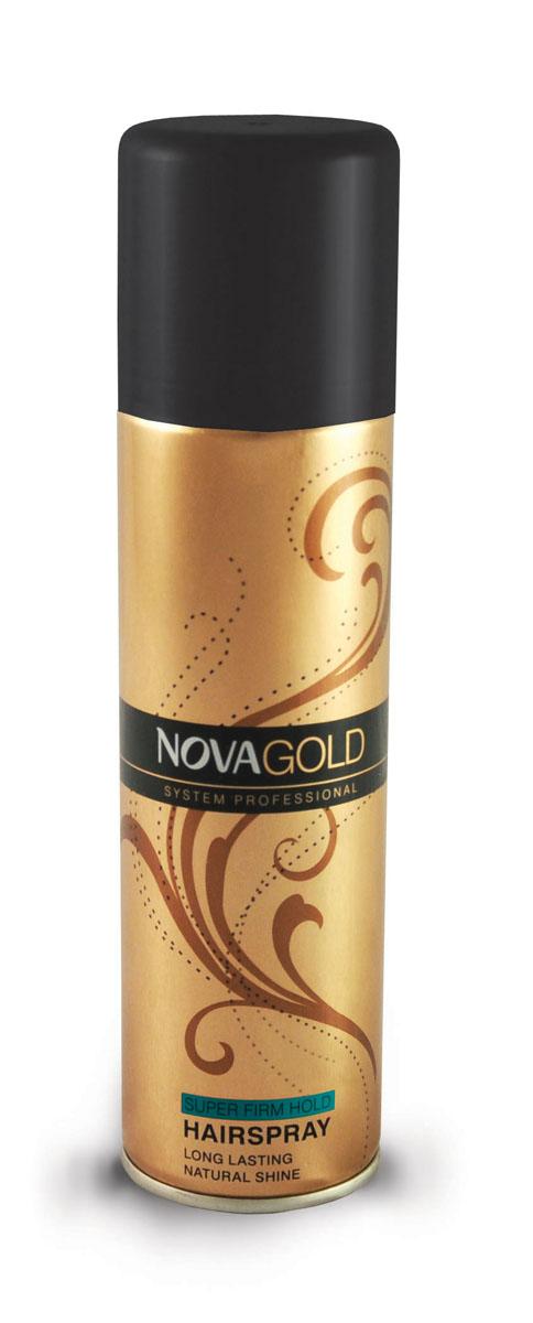 Лак суперфиксации Nova GOLD 200 мл (зеленый)5021156120072Лак предназначен для суперсильной фиксации без ощущения склеенности и липкости.Результат-эффект натуральности и надежнозакрепленная прическа.Входящие в состав протеины шёлка ухаживают за волосами,а UV фильтры защищают от неблагоприятного воздействия окружающей среды. Средство идеально подходит для укладки волос,поврежденных или ослабленных из-за постоянного воздействия высоких температур. Лак обладает приятным,легким ароматом,быстро сохнет и легко смывается,при этом не повреждая волосы.