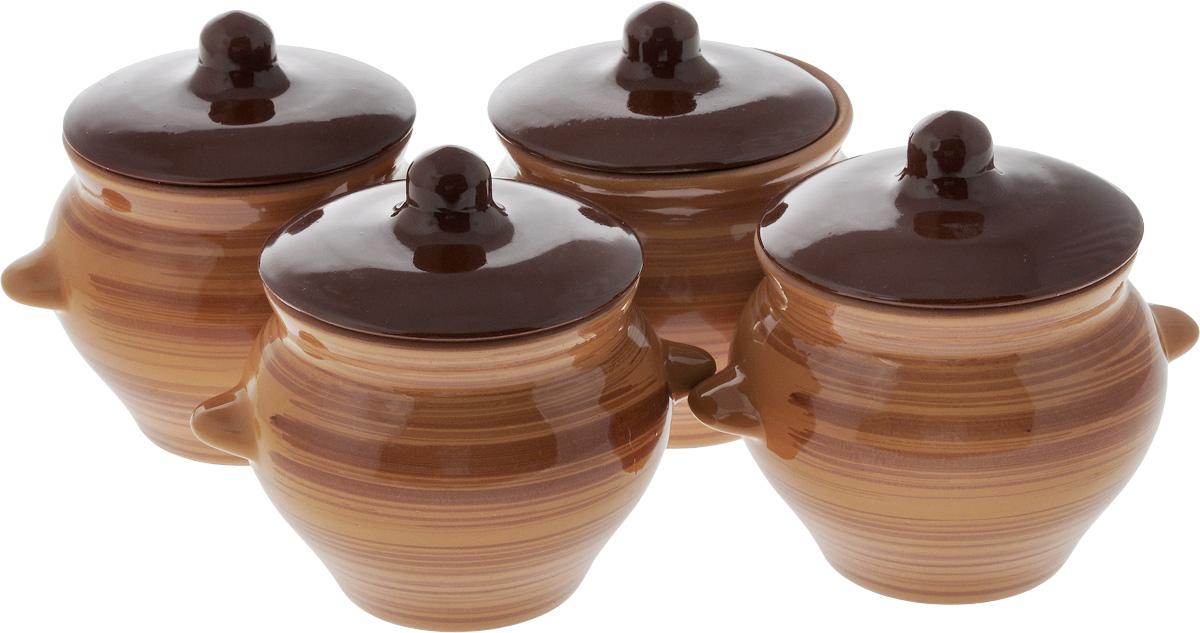 Набор горшочков для запекания Борисовская керамика Стандарт, с крышками, 500 мл, цвет: коричневый, темно-коричневый, 4 штОБЧ00000079_коричневый, темно-коричневый, полосыНабор Борисовская керамика Стандарт состоит из 4 горшочков для запекания с крышками. Каждый предмет набора выполнен из высококачественной керамики. Уникальные свойства красной глины и толстые стенки изделия обеспечивают эффект русской печи при приготовлении блюд. Блюда, приготовленные в керамическом горшке, получаются нежными и сочными. Вы сможете приготовить мясо, сделать томленые овощи и все это без капли масла. Это один из самых здоровых способов готовки.Можно использовать в духовке и микроволновой печи.Диаметр горшка (по верхнему краю): 9,5 см. Высота стенок: 9,6 см. Объем: 500 мл.