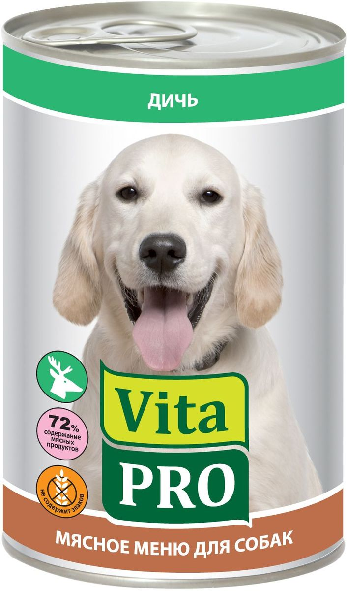 Консервы для собак Vita Pro Мясное меню, с дичью, 400 г90016Корм из натурального мяса без овощей и злаков с добавлением кальция для растущего организма. Не содержит искусственных красителей и усилителей вкуса. Крупнофаршевая текстура.Состав: мясо и мясные субпродукты 72%, из которых 50% дичь, бульон 27%, минеральные вещества 1%.Анализ состава: протеин 12%, жиры 6,2%, зола 1,9%, клетчатка 0,3%, влажность 76%.Добавки на 1 кг: витамин А 3000 МЕ, витамин Д3 200 МЕ, витамин Е 30 мг, цинк 15 мг, марганец 3 мг, йод 0,75 мг, селен 0,03 мг.Товар сертифицирован. Чем кормить пожилых собак: советы ветеринара. Статья OZON Гид