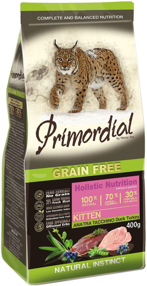 Корм сухой Primordial для котят, беззерновой, с уткой и индейкой, 400 гMGSP10400Сухой беззерновой корм Primordial класса Holistic изготовлен для котят с уткой и индейкой является уникальным гибридным кормом, который сочетает в себе два вида ингредиентов - натуральных и органических. Рацион содержит тщательно отобранные ингредиенты исключительно из натуральных источников.Благодаря отсутствию злаков и 70% специально отобранных видов мяса корм поддерживает низкий гликемический индекс, 35% рыбы и свежего мяса гарантируют высокую аппетитность и перевариваемость корма, за счет приготовления на пару структура белков остается ненарушенной.Если вы ищите по-настоящему натуральный и полезный рацион для своего любимого питомца, то этот корм станет для вас оптимальным решением.Анализ компонентов: влага 8%, сырой белок 32%, сырые масла и жиры 20%, сырая зола 7,9%, сырая клетчатка 2,5%.Добавки на 1 кг: витамин A 21500 UI, Витамин D3 1450 UI, 3a700 Витамин E 200 мг, E4 пентагидрат сульфата меди 67 мг, E1 карбонат железа 70 мг, E5 оксид марганца 88 мг, E6 моногидрат сульфата цинка 211 мг, E2 йодистый калий 5,04 мг, E8 селенит натрия 0,39 мг, таурин 2000 мг.Товар сертифицирован.