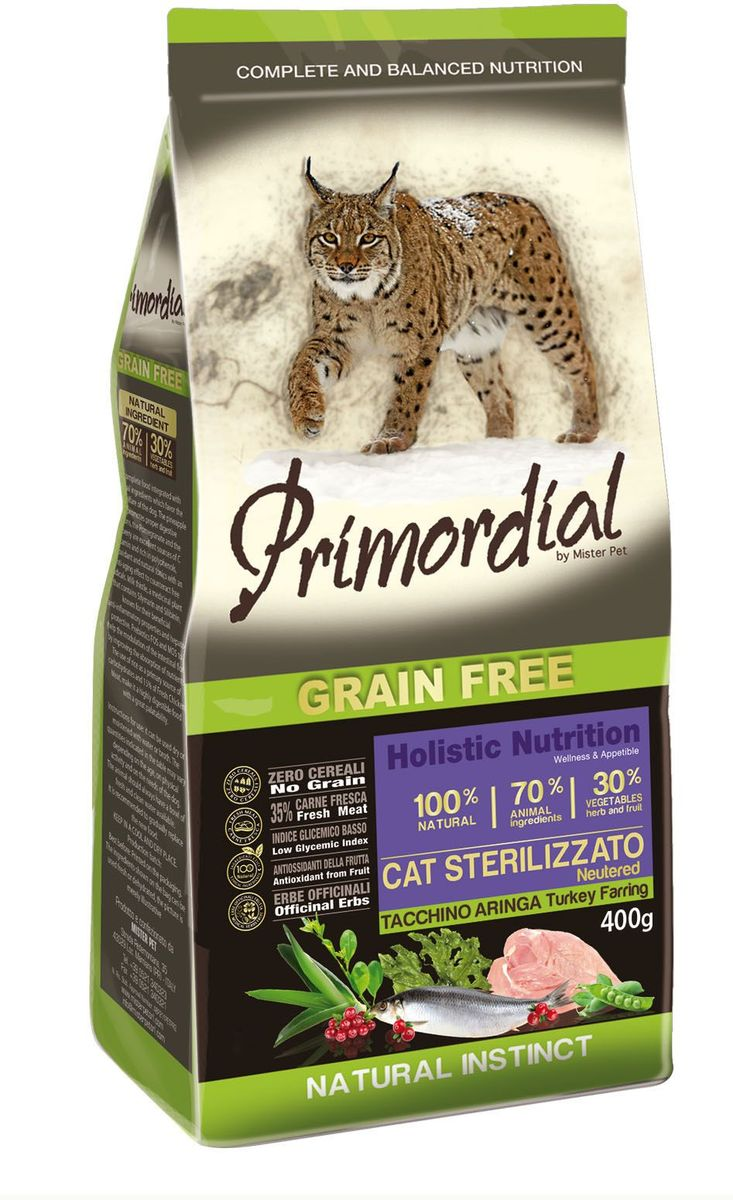 Корм сухой Primordial для стерилизованных кошек, беззерновой, индейка и сельдь, 400 гMGSP13400Беззерновой корм класса холистик Primordial создан для стерилизованных кошек. Специально отобранные виды мяса и рыбы поддерживают низкий гликемический индекс, гарантируют высокую аппетитность и перевариваемость корма.Состав: свежее мясо индейки (35%), дегидрированное куриное мясо (16%), горошек, картофель, мука из дегидрированной сельди (10%), индюшачий и куриный жир, сушеная мякоть свеклы, бобы кормовые, льняное семя (2%), гидролизат печени, дрожжи, мука из морских водорослей (0,24%), дрожжевые продукты (MOS 0,16%), юкка Шидигера (0,033%), концентрат леспедецы головчатой (Lespediza capitata Mich.) (0,028%), концентрат клюквы (Vaccinium macrocarpon Aiton.) (0,004%), экстракт розмарина.Пищевые добавки на кг: 3a672a Витамин A 21000 UI, Витамин D3 1400 UI, 3a700 Витамин E 180 мг, E4 пентагидрат сульфата меди 59 мг, E1 карбонат железа 62 мг, E5 оксид марганца 77 мг, E6 моногидрат сульфата цинка 186 мг, E2 йодистый калий 4,85 мг, E8 селенит натрия 0,35 мг, таурин 2000 мг.Аналитические компоненты: Влага 8%, сырой белок 33%, сырые масла и жиры 14%, сырая зола 7,5%, сырая клетчатка 3%.