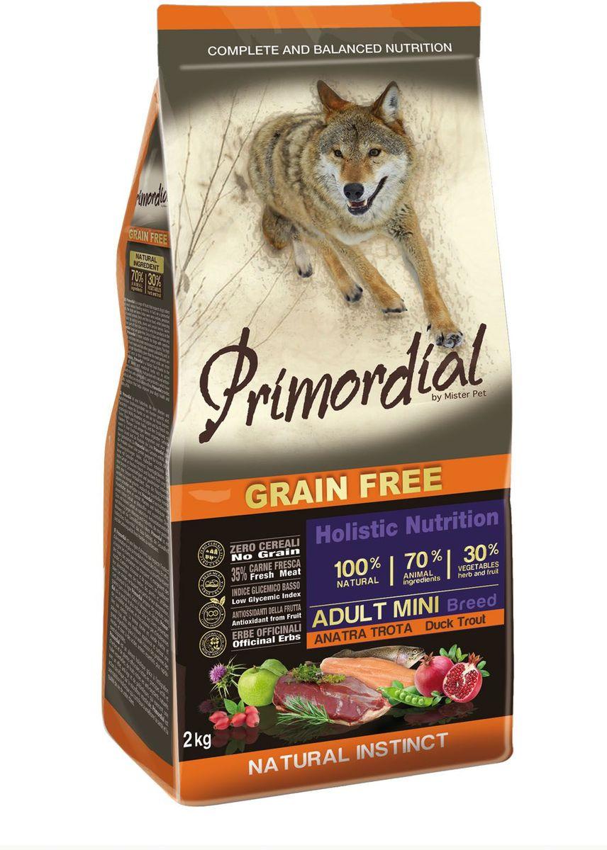 Корм сухой Primordial для собак мелких пород, беззерновой, форель и утка, 2 кгMSP5102Полноценный беззерновой корм Primordial класса холистик изготовлен для взрослых собак. Специально отобранные виды мяса и рыбы поддерживают низкий гликемический индекс, гарантируют высокую аппетитность и перевариемость корма. Состав: свежая форель (35%), дегидрированное утиное мясо (25%), горошек, картофель, куриный жир (10%), боб обыкновенный, льняное семя (2,5%), сушеная мякоть свеклы, пивные дрожжи, мука из морских водорослей (0,3%), фруктолигосахариды FOS (0,2%), дрожжевые продукты (MOS 0,2%), юкка Шидигера (0,03%), расторопша пятнистая (Silybum marianum L.) (0,02%), дегидрированный гранат (Punica granatum) (0,02%), дегидрированное яблоко (Malus pumila) (0,02%), дегидрированные плоды шиповника (Rosa Canina L., R. Pendulina L.) (0,002%), глюкозамина, хондроитина сульфат, экстракт розмарина. Пищевые добавки на кг: 3a672a Витамин A 21000 UI, Витамин D3 1400 UI, 3a700 Витамин E 180 мг, E4 пентагидрат сульфата меди 59 мг, E1 карбонат железа 62 мг, E5 оксид марганца 77 мг, E6 моногидрат сульфата цинка 186 мг, E2 йодистый калий 4,85 мг, E8 селенит натрия 0,35 мг. Аналитические компоненты: Влага 8%, сырой белок 30%, сырые масла и жиры 20%, сырая зола 8,4%, сырая клетчатка 2,4%. Товар сертифицирован.