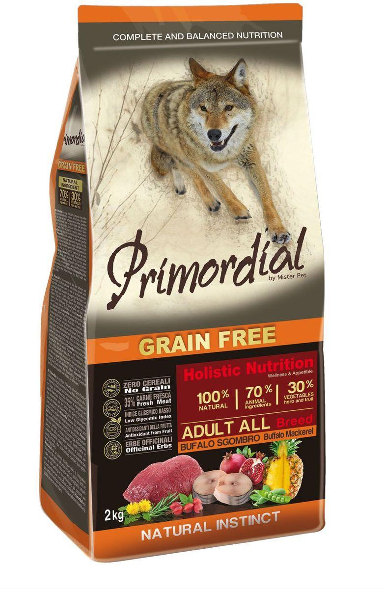 Корм сухой Primordial для собак, беззерновой, буйвол и скумбрия, 2 кгMSP5502Полноценный беззерновой корм Primordial класса холистик изготовлен для взрослых собак. Специально отобранные виды мяса и рыбы поддерживают низкий гликемический индекс, гарантируют высокую аппетитность и перевариемость корма. Состав: свежая скумбрия (35%), дегидрированное буйволиное мясо (18%), горошек, картофель, куриный жир (9%), дегидрированная свинина (8%), боб обыкновенный, льняное семя (2%), сушеная мякоть свеклы, пивные дрожжи, мука из морских водорослей (0,3%), фруктолигосахариды FOS (0,2%), дрожжевые продукты (MOS 0,2%), юкка Шидигера (0,03%), порошок корня одуванчика (Taraxacum officinale W.) (0,02%), дегидрированный гранат (Punica granatum) (0,02%), дегидрированный стебель ананаса (Ananas sativus L.) (0,02%), дегидрированные плоды шиповника (Rosa Canina L., R. Pendulina L.) (0,002%), глюкозамина, хондроитина сульфат, экстракт розмарина.Пищевые добавки на кг: 3a672a Витамин A 21000 UI, Витамин D3 1400 UI, 3a700 Витамин E 180 мг, E4 пентагидрат сульфата меди 59 мг, E1 карбонат железа 62 мг, E5 оксид марганца 77 мг, E6 моногидрат сульфата цинка 186 мг, E2 йодистый калий 4,85 мг, E8 селенит натрия 0,35 мг. Аналитические компоненты: влага 8%, сырой белок 30%, сырые масла и жиры 18%, сырая зола 8,5%, сырая клетчатка 2,4%. Товар сертифицирован.