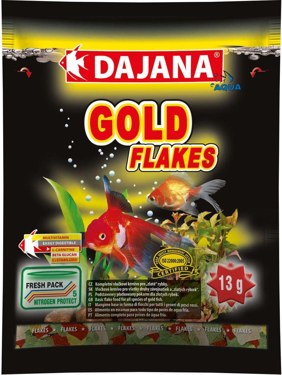 Корм для рыб Dajana Gold Flakes, 80 млDP001SКомплексный корм Dajana Gold Flakes в виде хлопьев для всех видов золотых рыбок. Оригинальный рецепт Dajana Gold обеспечивает оптимальное соотношение питательных веществ, минералов и витаминов, L-карнитина и Алое вера. В своемсоставе содержит витамины А, Е, С, D3. Корм повышает метаболизм липидов, и являетсяотличным источником энергии. Положительно влияет на здоровый рост и развитие рыбок. Оказывает благоприятное воздействие на пищеварительную, иммунную и репродуктивную систему золотых рыбок.Благодаря специальной рецептуре изготовления, корм для рыбок Dajana Gold не мутит воду в аквариуме после кормления.Состав: растительные протеиновые концентраты, планктон, водоросли, рыба и рыбные субпродукты, зерновые, сухие дрожжи, спирулина, масла и жиры, лецитин, антиоксиданты.