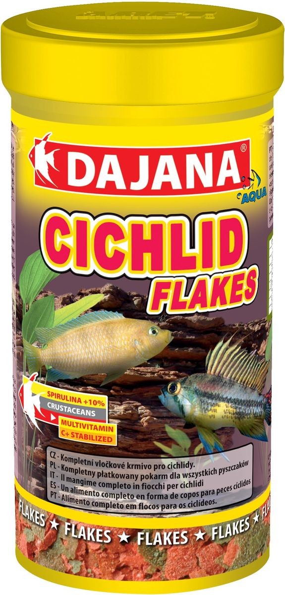 Корм для рыб Dajana Cichlid Flakes, 250 млDP005BВысококачественный корм Dajana Cichlid Flakes в виде хлопьев для всех рыб семейства цихлид.Содержит композицию натуральных компонентов, включая водоросли SPIRULINA и CHLORELLA, укрепляющие иммунитет, а также овощные ингредиенты. Оказывает положительное влияние на биологический баланс всего организма рыбы. В составе корма витамины А, Е, С и D3, а также минералы и стабилизированный витамин С, обеспечивающие здоровый рост и развитие рыб, яркий окрас и укрепление иммунитета.Состав: Рыба и рыбные субпродукты, растительные протеиновые концентраты, сухие дрожжи, планктон, водоросли, растительные масла и жиры, лецитин, антиоксиданты.