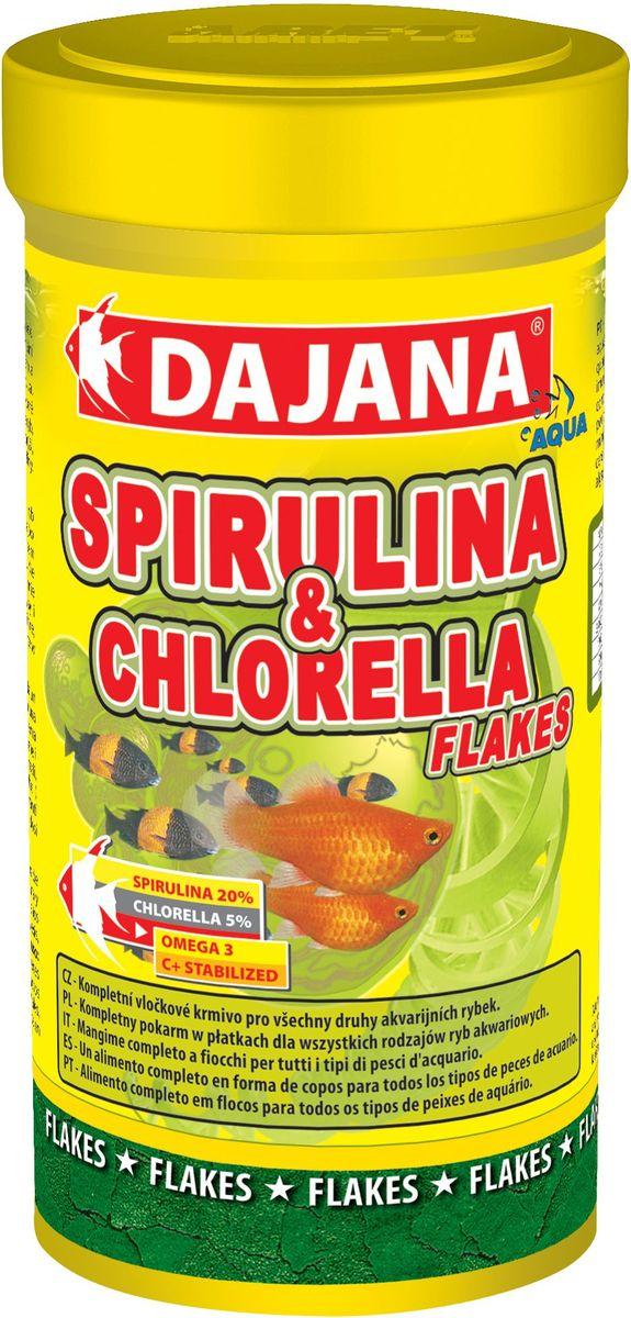 Корм для рыб Dajana Spirulina & Chlorella Flakes, 250 мл корм tetra tetramin xl flakes complete food for larger tropical fish крупные хлопья для больших тропических рыб 10л 769946
