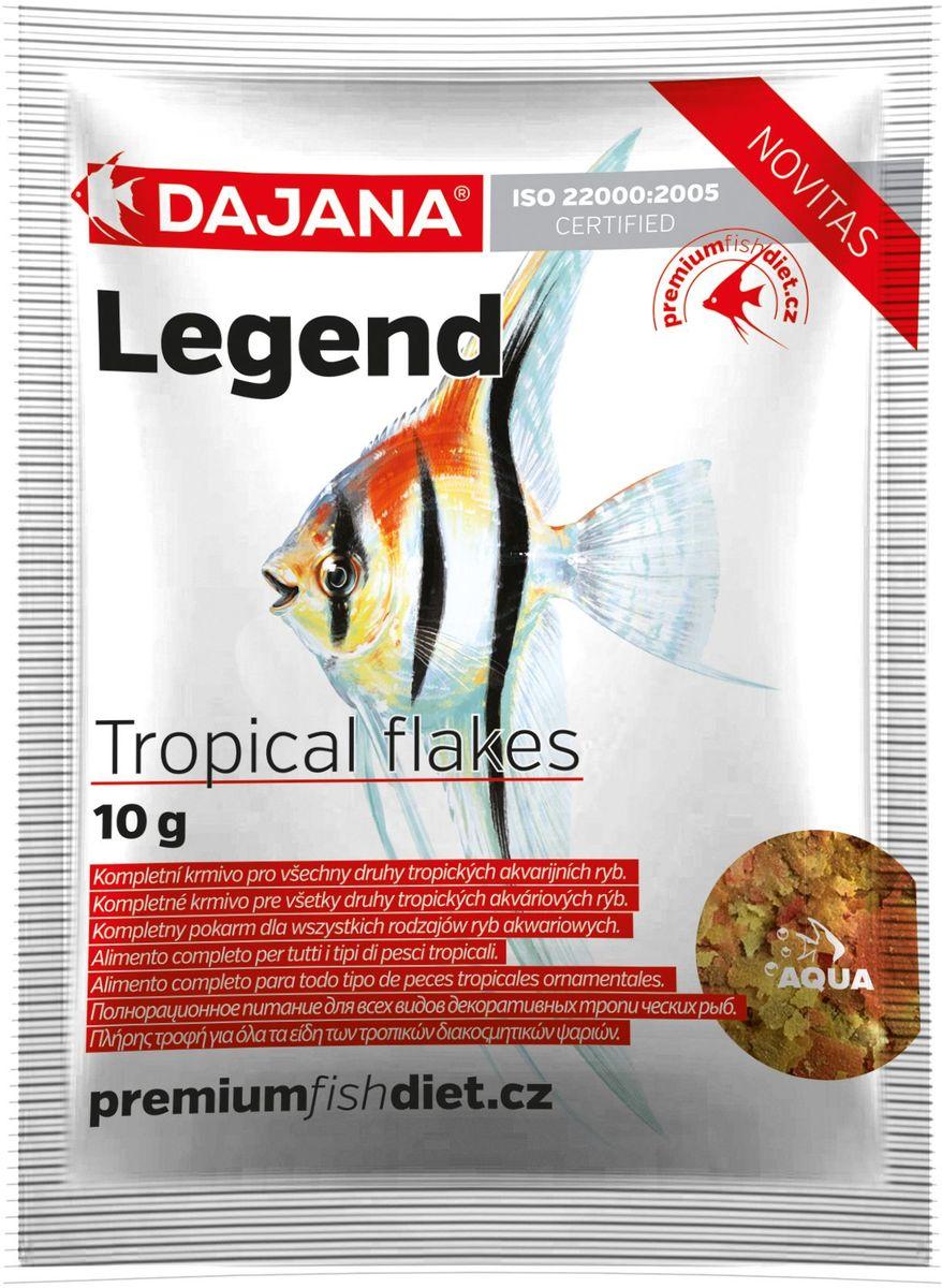 Корм для рыб Dajana Legend Tropical Flakes, 80 млDP016S0Полнорационный хлопьеобразный корм для всех видов декоративных тропических рыб. Корм Legend изготавливается по новой премиум-формуле, имитирующей корм рыб в дикой природе, улучшает пищеварение укрепляет иммунную систему, помогает здоровой окраске рыб, снижает биологическую нагрузку в аквариуме.Состав: рыба и рыбные продукты (сельдь, мука 5%), мука из личинок насекомых (13%), пивные дрожжи, зерновые, соевая мука, масло лосося, картофель, мука, креветочная мука, чеснок, паприка, мука люцерны, мука, спирулина, красители природного происхождения, крабов, икра.