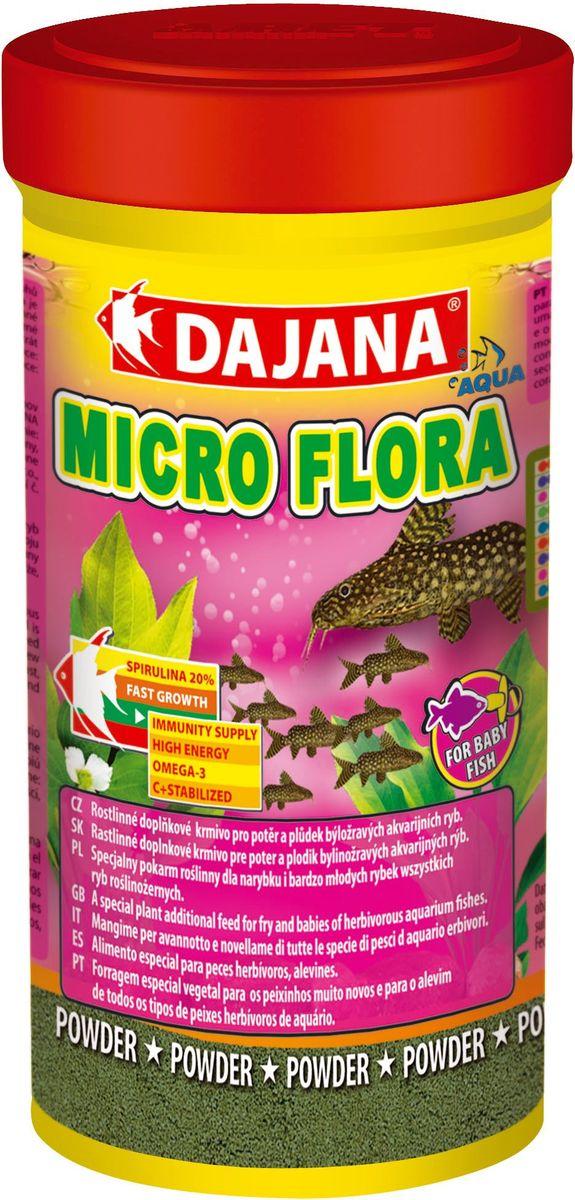 Корм для рыб Dajana Micro Flora, 100 млDP026AMicro Flora - Специальный легкий порошкообразный корм для мальков. Содержит натуральные компоненты с добавлением спирулины максима для травоядных видов рыб. Dajana Micro Flora благотворно влияет на здоровье, быстрый рост и развитие маленьких рыбок. Корм богат протеинами, оказывает благотворное влияниена здоровье, быстрый рост и развитие маленьких рыбок.Состав: рыбная мука, зерновые, спирулина, растительные протеиновые концентраты, сухие дрожжи, планктон, водоросли, растительные масла и жиры, лецитин, антиоксиданты.