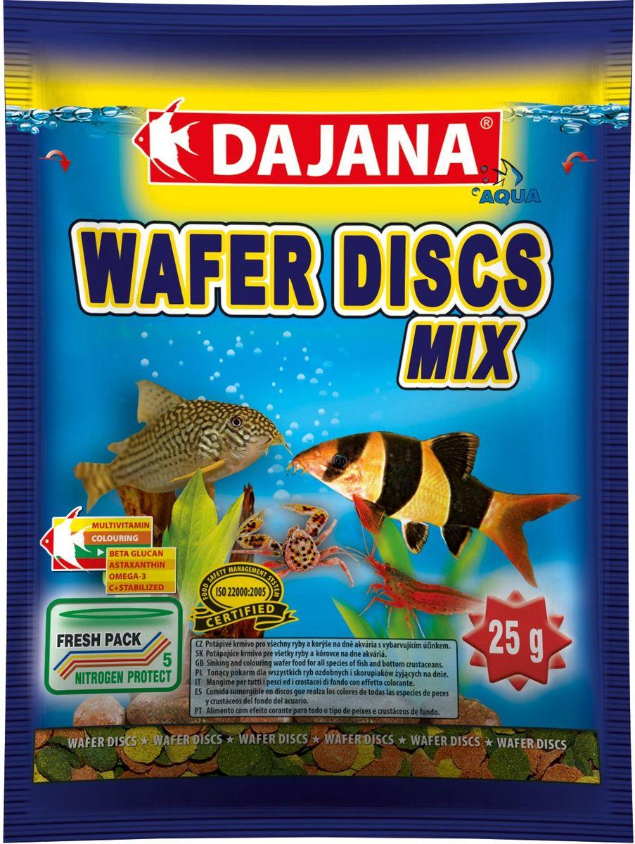 Корм для рыб Dajana Wafers Discs Mix, 80 млDP061SПолнорационный корм в виде цветных тонущих дисков для рыб и донных ракообразных, живущих на дне пресноводных и морских аквариумов. Три типа специальных пластинок содержат природный антиоксидант Astaxanthin, морские водоросли, природный иммуномодулятор Бета-глюкан в оптимальной сбалансированной формуле. Корм Dajana Wafer Discs Mix не мутит воду в аквариуме.Состав: растительные белковые концентраты, моллюски, морские водоросли, рыба и рыбные субпродукты, зерновые, сухие дрожжи, чеснок, водоросль спирулина, жиры, лецитин, антиоксиданты.Товар сертифицирован.