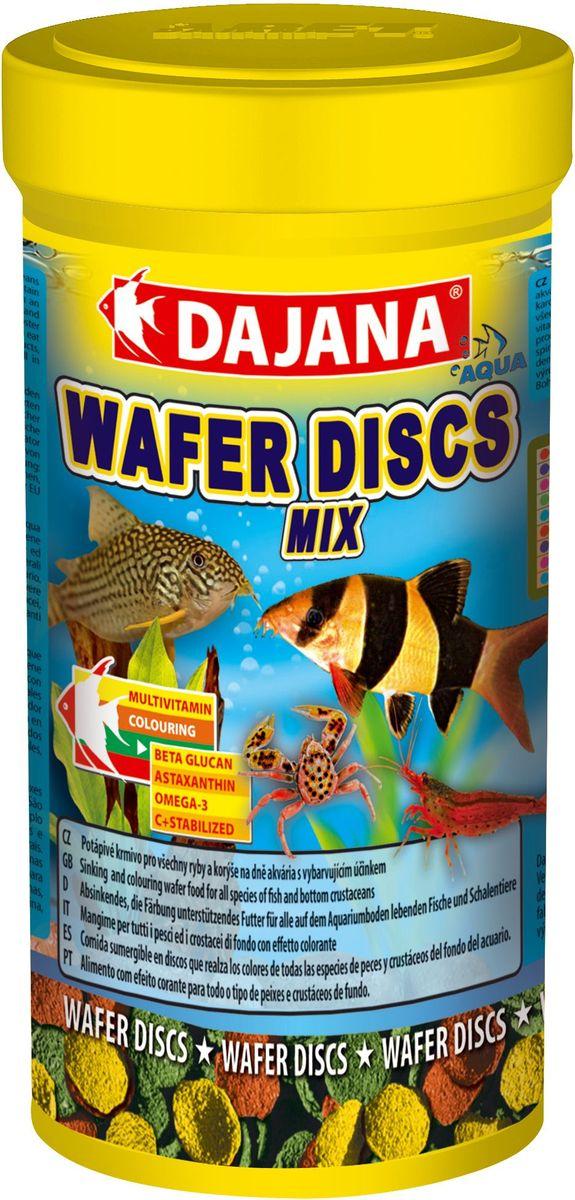 Корм для рыб Dajana Wafers Discs Mix, 100 млDP061AПолнорационный корм в виде цветных тонущих дисков для рыб и донных ракообразных, живущих на дне пресноводных и морских аквариумов. Три типа специальных пластинок содержат природный антиоксидант Astaxanthin, морские водоросли, природный иммуномодулятор Бета-глюкан в оптимальной сбалансированной формуле. Корм Dajana Wafer Discs Mix не мутит воду в аквариуме.Состав: растительные белковые концентраты, моллюски, морские водоросли, рыба и рыбные субпродукты, зерновые, сухие дрожжи, чеснок, водоросль спирулина, жиры, лецитин, антиоксиданты.Товар сертифицирован.