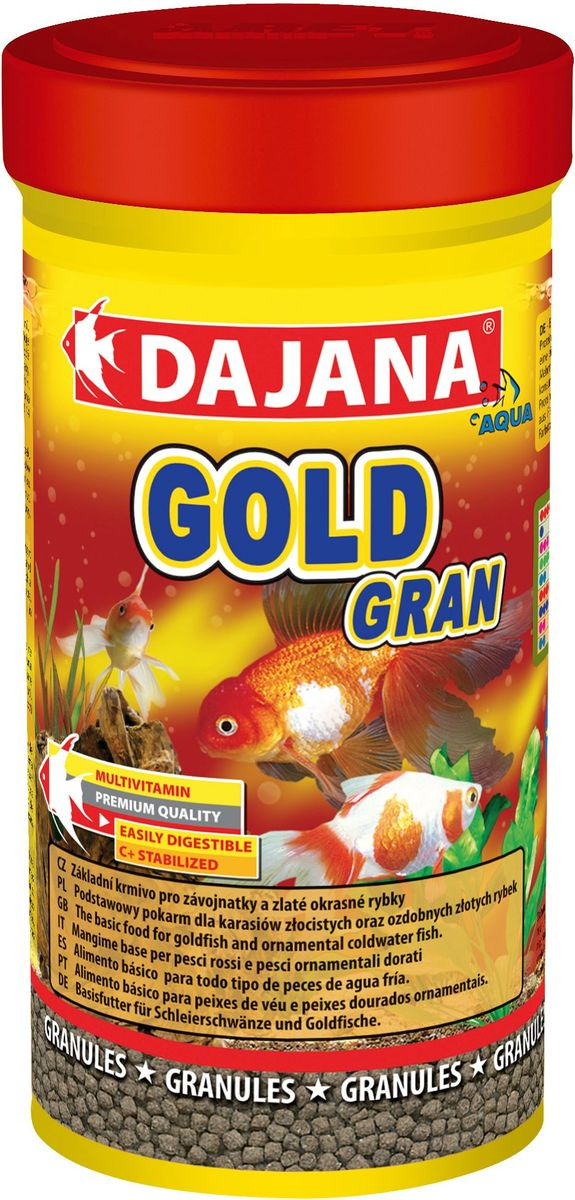 Корм для рыб Dajana Gold Gran, 100 млDP101AКомплексный корм в виде гранул для всех видов золотых рыб, включая их различные селекционные формы. При ежедневном использовании корма, вы можете рассчитывать на здоровый рост и великолепную форму ваших золотых рыб.Гранулированный корм содержит все необходимые питательные вещества высокого качества, стабилизированный витамин С, который улучшает иммунитет к инфекционным заболеваниям и стрессоустойчивость. Корм состоит из высококачественных, натуральных ингредиентов, поэтому хорошо усваивается и имеет низкую долю отходов.Состав: рыбная мука, зерновые, растительные протеиновые концентраты, сушеные дрожжи, моллюски, водоросли, растительные масла и жиры, лецитин, антиоксиданты.