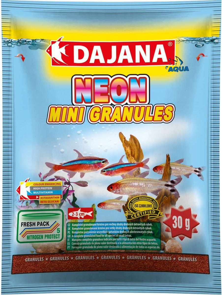 Корм для рыб Dajana Neon Mini Granules, 80 млDP104SКомплексный гранулированный корм премиум класса Dajana Neon Mini Granules предназначен для ежедневного кормления неонов и другихрыб вида тетровых размером 2-3 см.Входящие в состав бета-глюкан и жирные кислоты омега-3 укрепляют иммунную систему ваших рыбок. Корм богат протеином, витаминами и минералами, способствует росту и здоровому развитию организма рыбок. Благодаря специальной рецептуре изготовления, корм для рыбок Dajana Neon Mini Gran не мутит воду в аквариуме после кормления.Состав: рыба и рыбные субпродукты, зерновые, растительный протеин, сухие дрожжи, морские водоросли, спирулина, жир, лецитин.