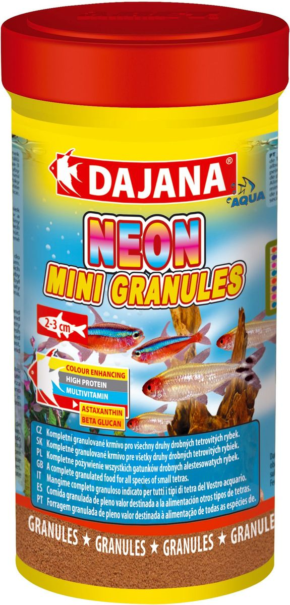 Корм для рыб Dajana Neon Mini Granules, 100 млDP104AКомплексный гранулированный корм премиум класса Dajana Neon Mini Granules предназначен для ежедневного кормления неонов и другихрыб вида тетровых размером 2-3 см.Входящие в состав бета-глюкан и жирные кислоты омега-3 укрепляют иммунную систему ваших рыбок. Корм богат протеином, витаминами и минералами, способствует росту и здоровому развитию организма рыбок. Благодаря специальной рецептуре изготовления, корм для рыбок Dajana Neon Mini Gran не мутит воду в аквариуме после кормления.Состав: рыба и рыбные субпродукты, зерновые, растительный протеин, сухие дрожжи, морские водоросли, спирулина, жир, лецитин.