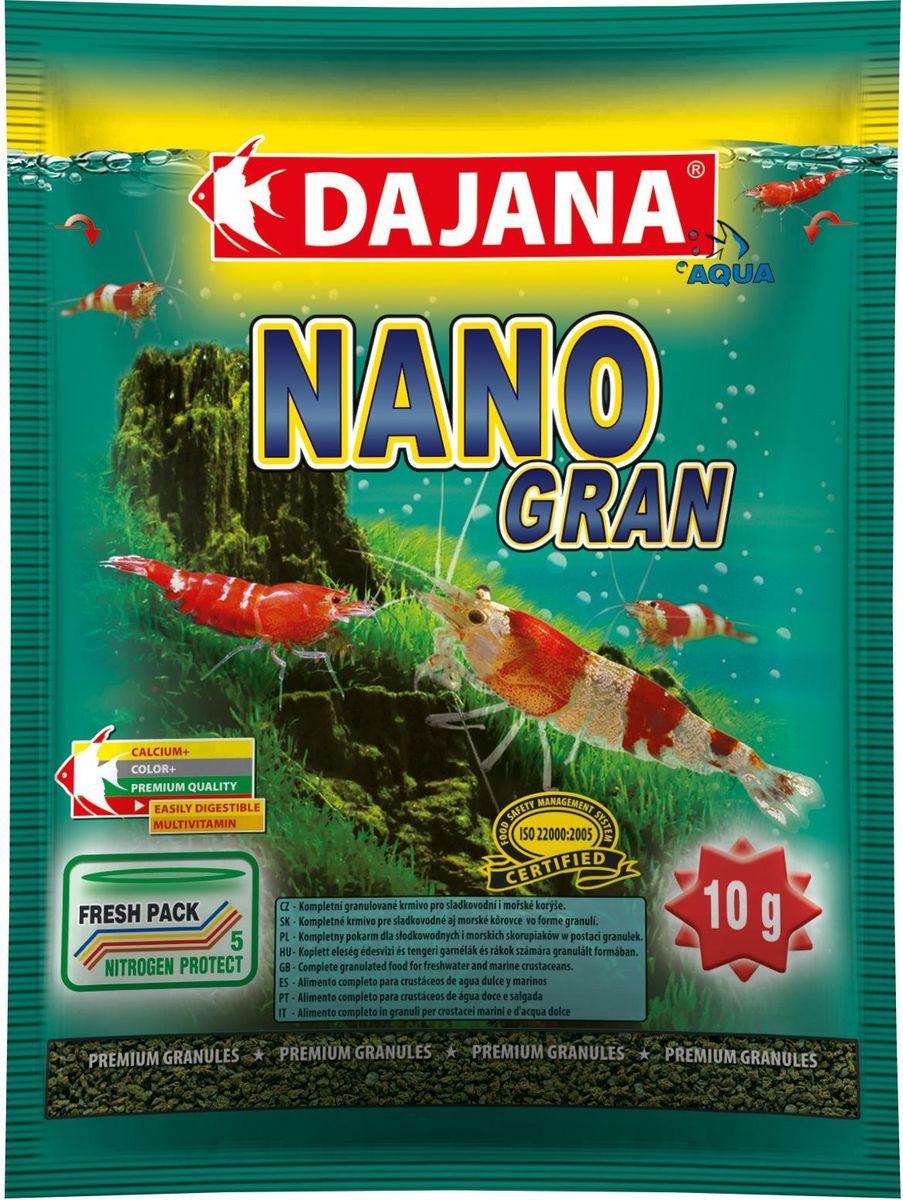 Корм для крабов и креветок Dajana Nano Gran, 80 млDP114SГранулированный комплексный корм Dajana Nano Gran идеален для пресноводных и морских ракообразных, особенно для декоративных креветок и аквариумных крабов. Премиум формула содержит оптимальное и сбалансированное соотношение всех важных питательных веществ, минералов и натуральных витаминов, способствующих здоровому росту и правильной смене панциря. При регулярном кормлении поддерживает цвет, регенерацию тела и иммунную систему креветок и крабов. Мини-гранулы корма быстро размягчаются в воде и медленно опускаются на дно аквариума. Благодаря специальной технологии изготовления, корм Dajana Nano Gran не мутит воду в аквариуме.Состав: зерновые продукты, рыба, морские ракообразные; растительные протеиновые концентраты, сухиедрожжи.