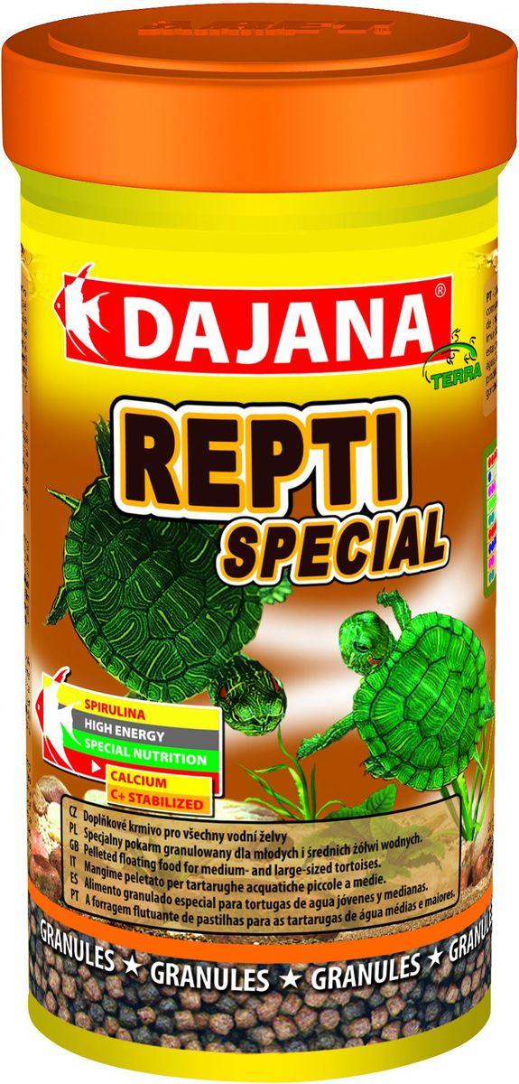 Корм для водных черепах Dajana Repti Special, 100 млDP152AСпециальный гранулированный корм Dajana Repti Special для маленьких и средних водных черепах. Корм содержит спирулину и бета-глюкан.Необходим для здорового развития молодых черепах, поддерживает иммунную систему, предотвращает недостаток кальция и фосфора. Имеет хорошие вкусовые свойства.Состав: рыбная мука, пшеничная мука, растительные белковые концентраты, сухие дрожжи, водоросли, планктон, масла и жиры, лецитин, антиоксиданты.