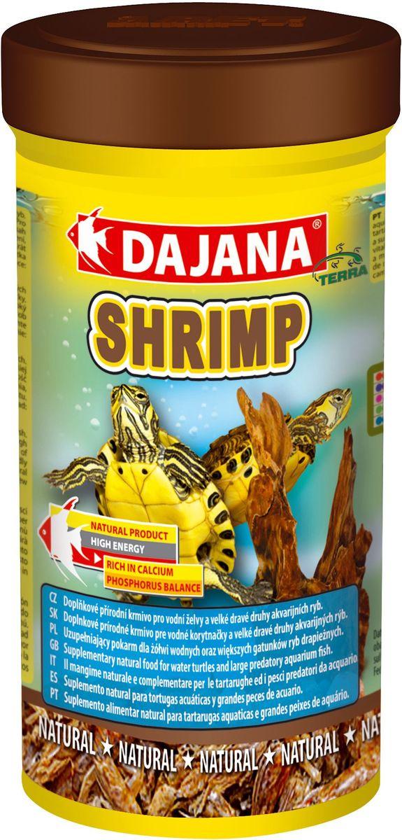 Корм для рептилий Dajana Shrimp, 100 млDP208AНатуральный высококачественный корм Dajana Shrimp (Даяна Шримп) в виде сушеных креветок палемонов для всех видов черепах, террариумных животных и пресноводных аквариумных рыбок.Компоненты корма собраны в экологически чистых районах, бережно приготовлены, и сохранили все свои питательные свойства.Этот корм является прекрасным полноценным рационом для водных черепах. Научно разработан с учетом диетических потребностей растущего организма черепах. С добавлением витаминов, минералов и аминокислот.Корм Dajana Shrimp способствует быстрому и здоровому росту черепах, содержит все необходимые питательные вещества для нормального развития рептилий. Прекрасно воспринимается и усваивается животными, способствует повышению природного иммунитета, а так же здоровому развитию водяных черепах. Не содержит искусственных консервантов, красителей или ароматизаторов.Состав: креветки палемоны.