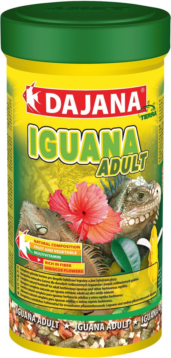 Корм для игуан Dajana Iguana Adult, 500 млDP251CКорм Dajana Iguana Adult - высококачественная кормовая смесь из отборных продуктов для взрослых травоядных игуан и других травоядных рептилий. В своём составе содержит сушеные зеленые корма, отборные цветки алтея, крапиву, фрукты и овощи без каких-либо химических добавок и примесей. Корм Dajana Iguana Adult обеспечивает игуан оптимальным уровнем протеинов, кальция и фосфора, а также содержит полный комплекс витаминов и минералов.Это натуральный, природный состав без искусственных красителей, ароматизаторов и консервантов. Гарантирует полноценную и сбалансированную диету, включающую все самые важные питательные вещества.Состав: сушеная люцерна, другие зеленые кормовые растения, цветы гибискуса, крапива, водоросли, сушеные фрукты и сушеные овощи.