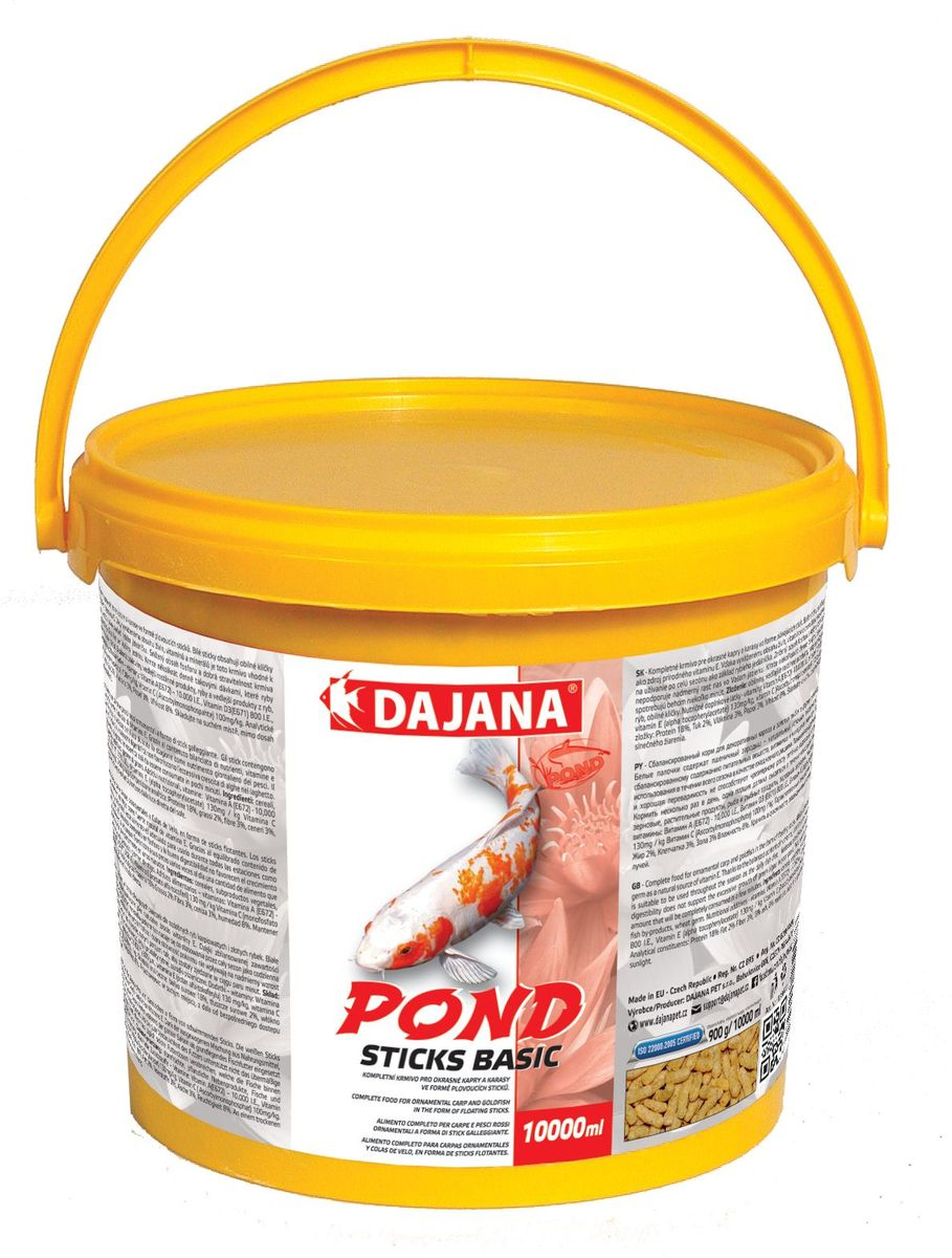 Корм для прудовых рыб Dajana Pond Sticks Basic, 10 лDP302GКомплексный корм для рыбок представлен в виде палочек для декоративных карасей, золотых рыбок и карпов КОИ.Плавающий корм имеет отличные вкусовые качества, легко усваивается, содержит сбалансированный набор протеинов, витаминов и минералов.
