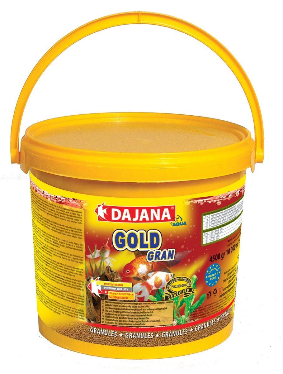 Корм для рыб Dajana Gold Gran, 5 лDP101FКомплексный корм в виде гранул для всех видов золотых рыб, включая их различные селекционные формы. При ежедневном использовании корма, вы можете рассчитывать на здоровый рост и великолепную форму ваших золотых рыб.Гранулированный корм содержит все необходимые питательные вещества высокого качества, стабилизированный витамин С, который улучшает иммунитет к инфекционным заболеваниям и стрессоустойчивость. Корм состоит из высококачественных, натуральных ингредиентов, поэтому хорошо усваивается и имеет низкую долю отходов.Состав: рыбная мука, зерновые, растительные протеиновые концентраты, сушеные дрожжи, моллюски, водоросли, растительные масла и жиры, лецитин, антиоксиданты.