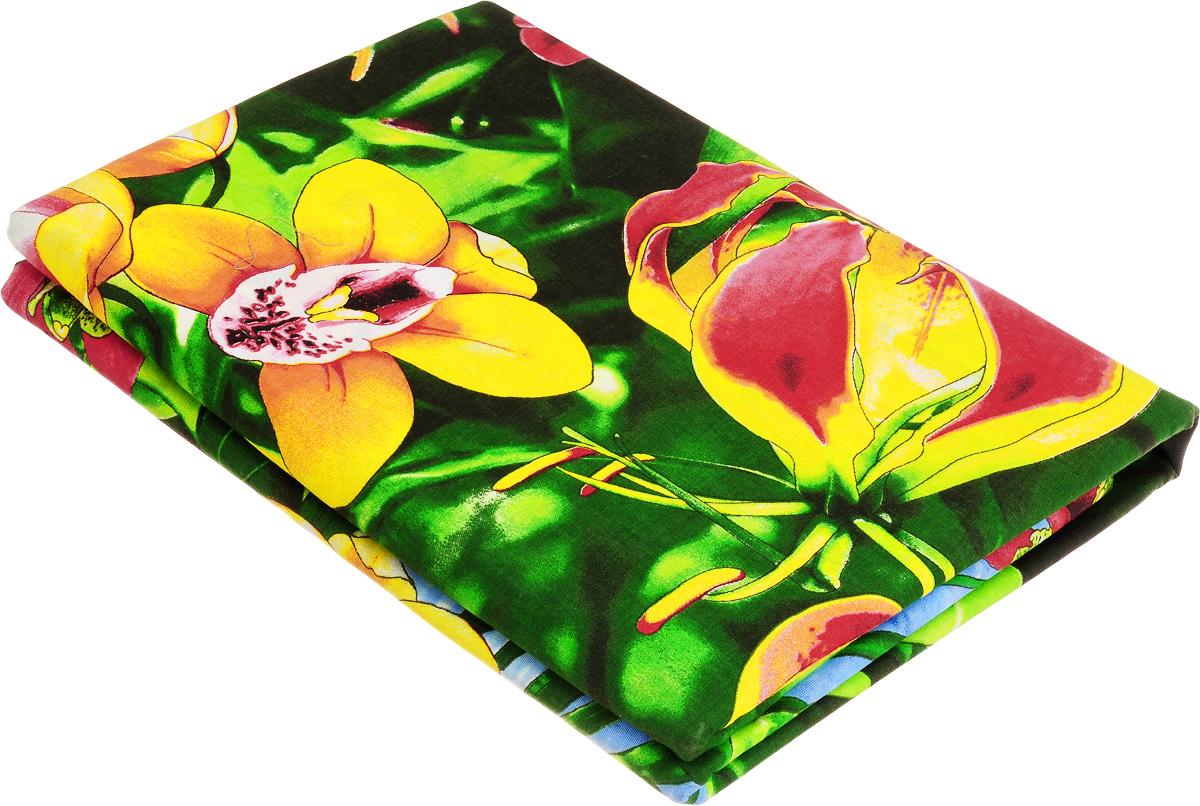 Комплект белья МарТекс Райский уголок, 1,5-спальный, наволочки 70х70, цвет: зеленый, красный, желтый01-0979-1Комплект МарТекс Райский уголок состоит из пододеяльника, простыни и двух наволочек. Постельное белье, выполненное из бязи (100% хлопка), оформлено ярким рисунком с эффектом 3D и имеет изысканный внешний вид. Бязь - хлопчатобумажная ткань полотняного переплетения без искусственных добавок. Большое количество нитей делает эту ткань более плотной, более долговечной. Высокая плотность ткани позволяет сохранить форму изделия, его первоначальные размеры и первозданный рисунок.Приобретая комплект постельного белья МарТекс Райский уголок, вы можете быть уверенны в том, что покупка доставит вам и вашим близким удовольствие и подарит максимальный комфорт.