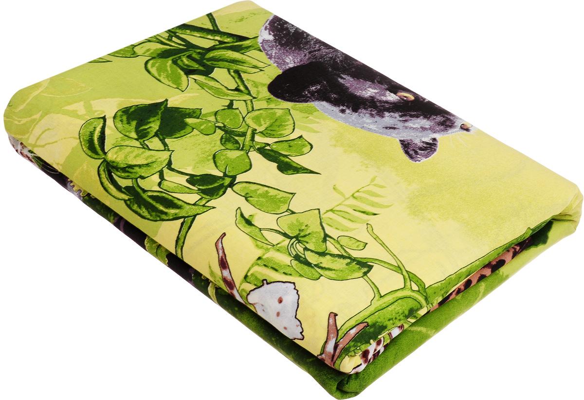 Комплект белья МарТекс Пантера, евро, наволочки 50х70, 70х70, цвет: зеленый01-0966-3Комплект постельного белья МарТекс Пантера состоит из пододеяльника, простыни и четырех наволочек и изготовлен из бязи. Постельное белье оформлено оригинальным ярким 3D рисунком и имеет изысканный внешний вид. Бязь - вид ткани, произведенный из натурального хлопка. Бязевое белье выдерживает большое количество стирок. Благодаря натуральному хлопку, постельное белье приобретает способность пропускать воздух, давая возможность телу дышать. Приобретая комплект постельного белья МарТекс, вы можете быть уверенны в том, что покупка доставит вам и вашим близким удовольствие и подарит максимальный комфорт.
