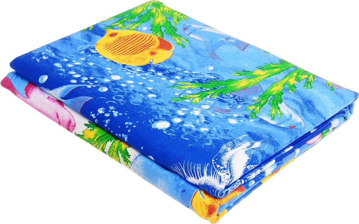 Комплект белья МарТекс Карибское море, 2-спальный, наволочки 70х70, цвет: синий